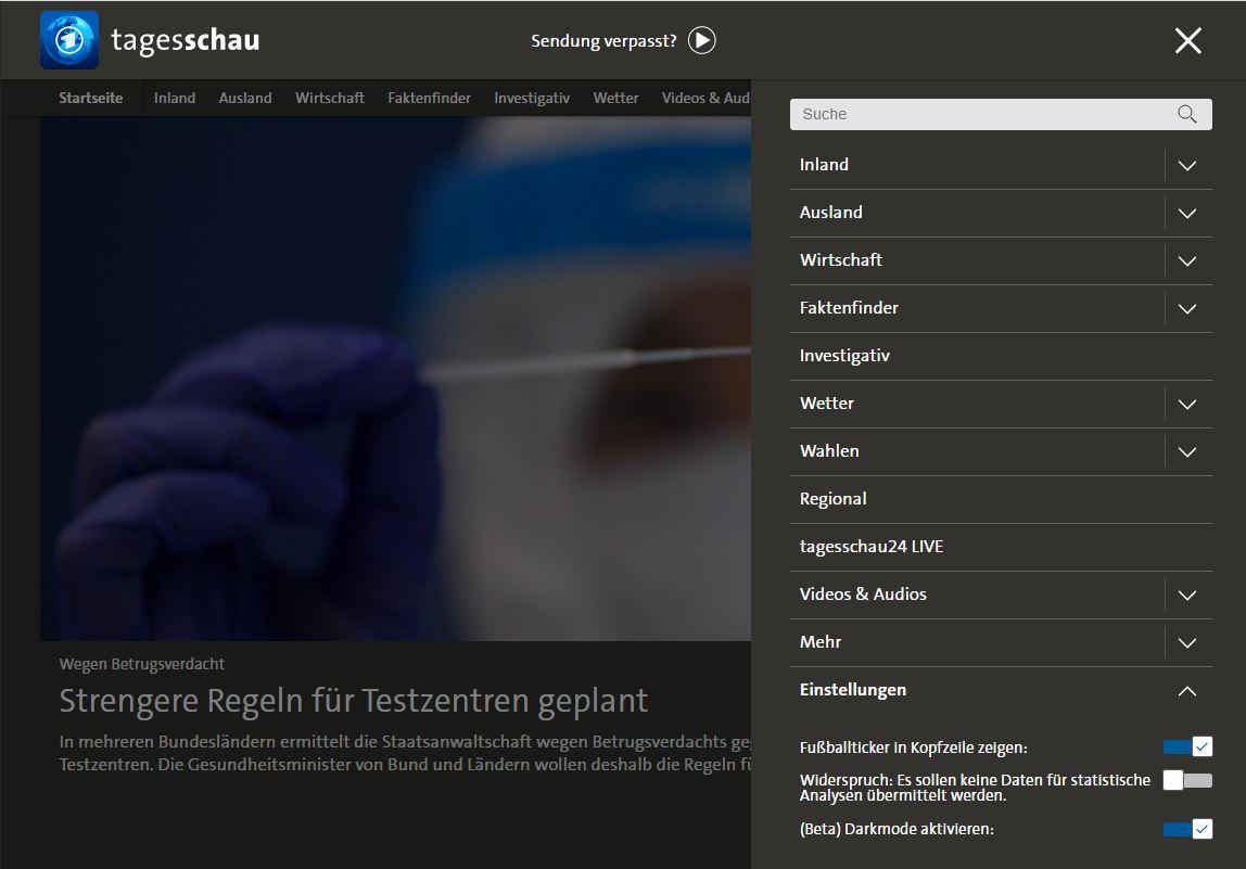 Screenshot der Navigation der Website tagesschau.de, wobei unten rechts im Bild zu sehen ist, wie der Dark Mode zu aktivieren ist